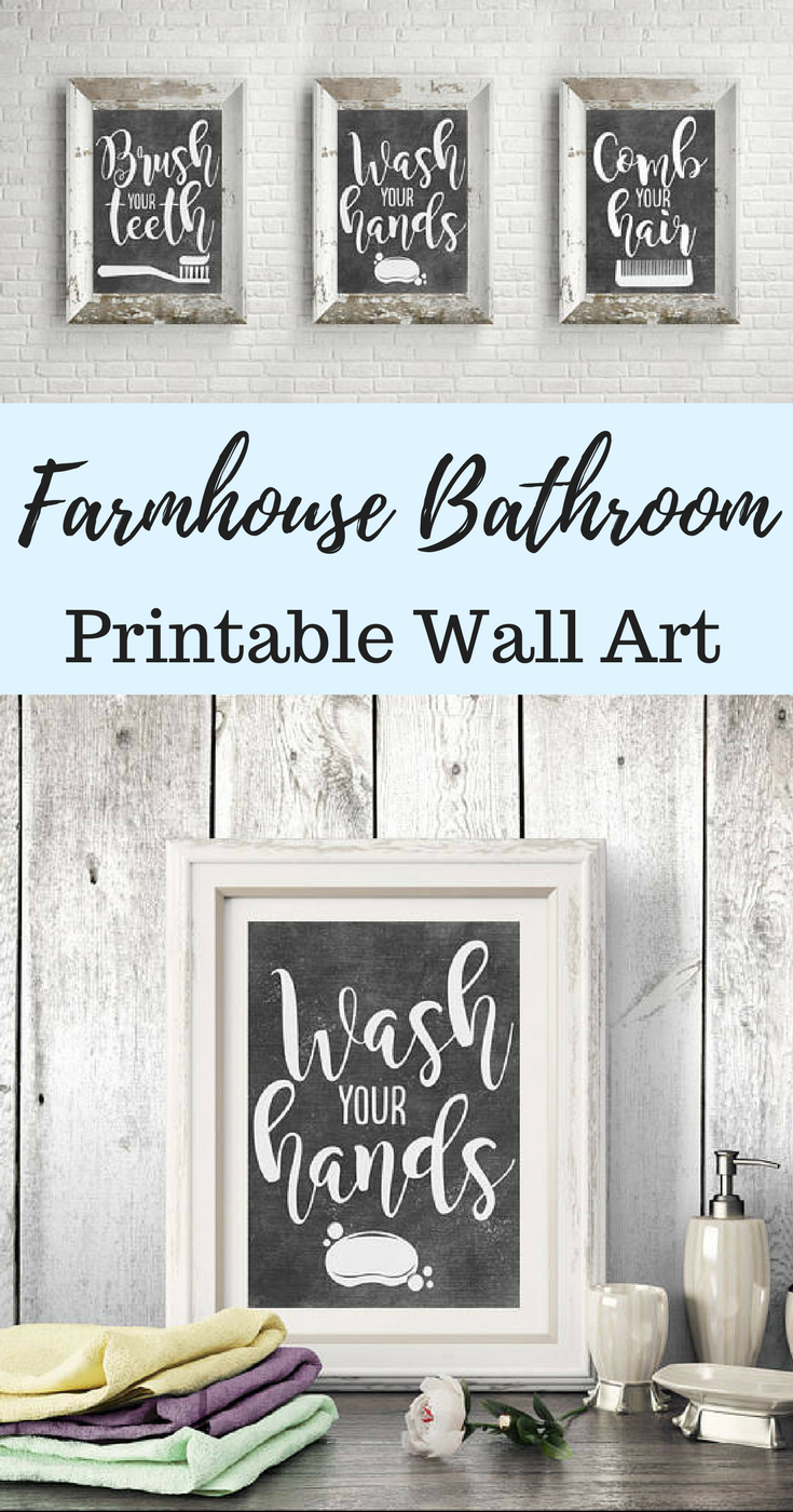 Printable Bathroom Wall Decor – Bathroom Signs – Chalkboard With Regard To 3 Piece Wash, Brush, Comb Wall Decor Sets (set Of 3) (View 7 of 30)