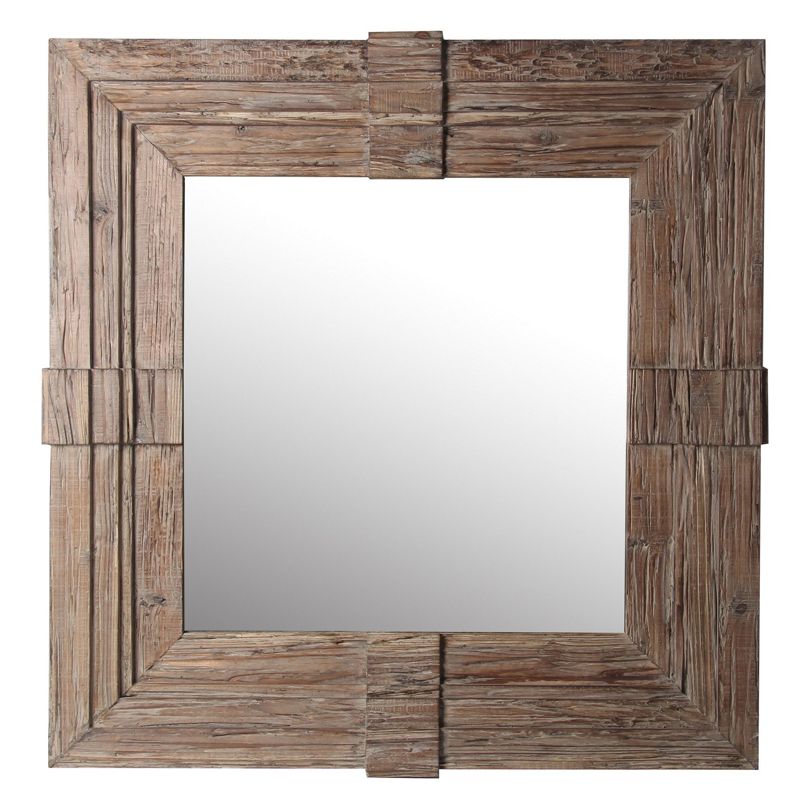 Privilege International Square Wood Traditional Wall Mirror Within Traditional Square Glass Wall Mirrors (View 10 of 30)