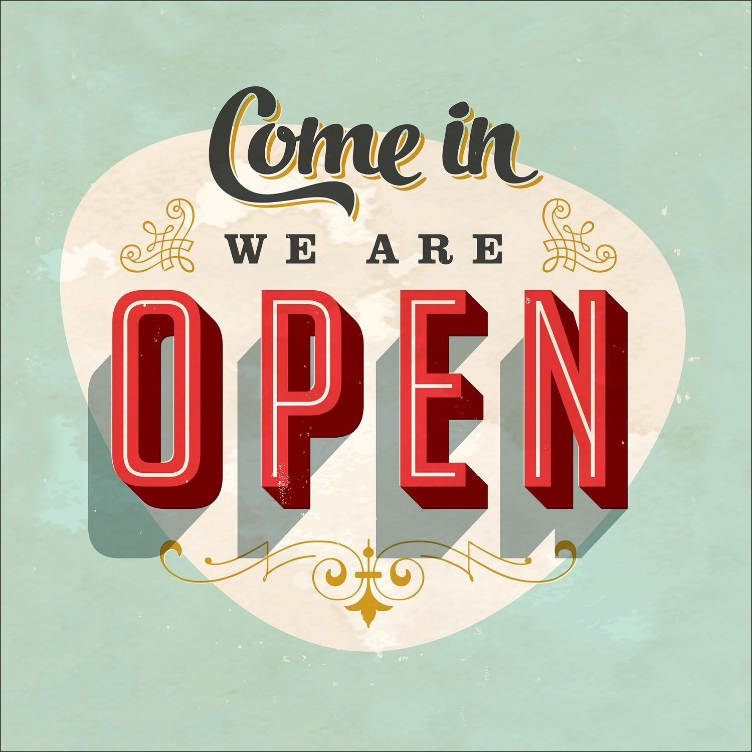 "Pro Art Gla927a Wandbild Glas Art ""come In We Are Open"", 30 Within Casual Country Eat Here Retro Wall Decor (View 6 of 30)"