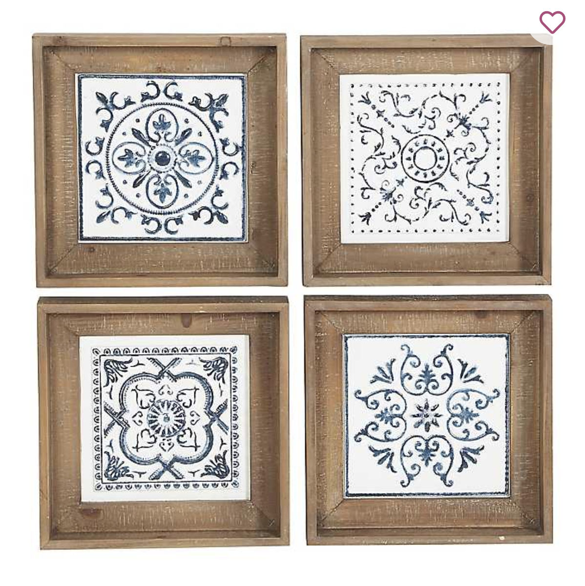 Product Details Blue Metal Tiles Wood Framed Plaques, Set Of For 4 Piece Metal Wall Plaque Decor Sets (View 9 of 30)