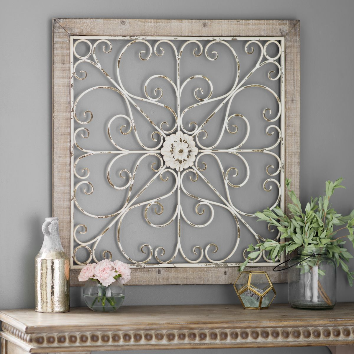 Product Details Daphne Ornate Scroll Wood And Metal Wall with 1 Piece Ortie Panel Wall Decor (Image 23 of 30)