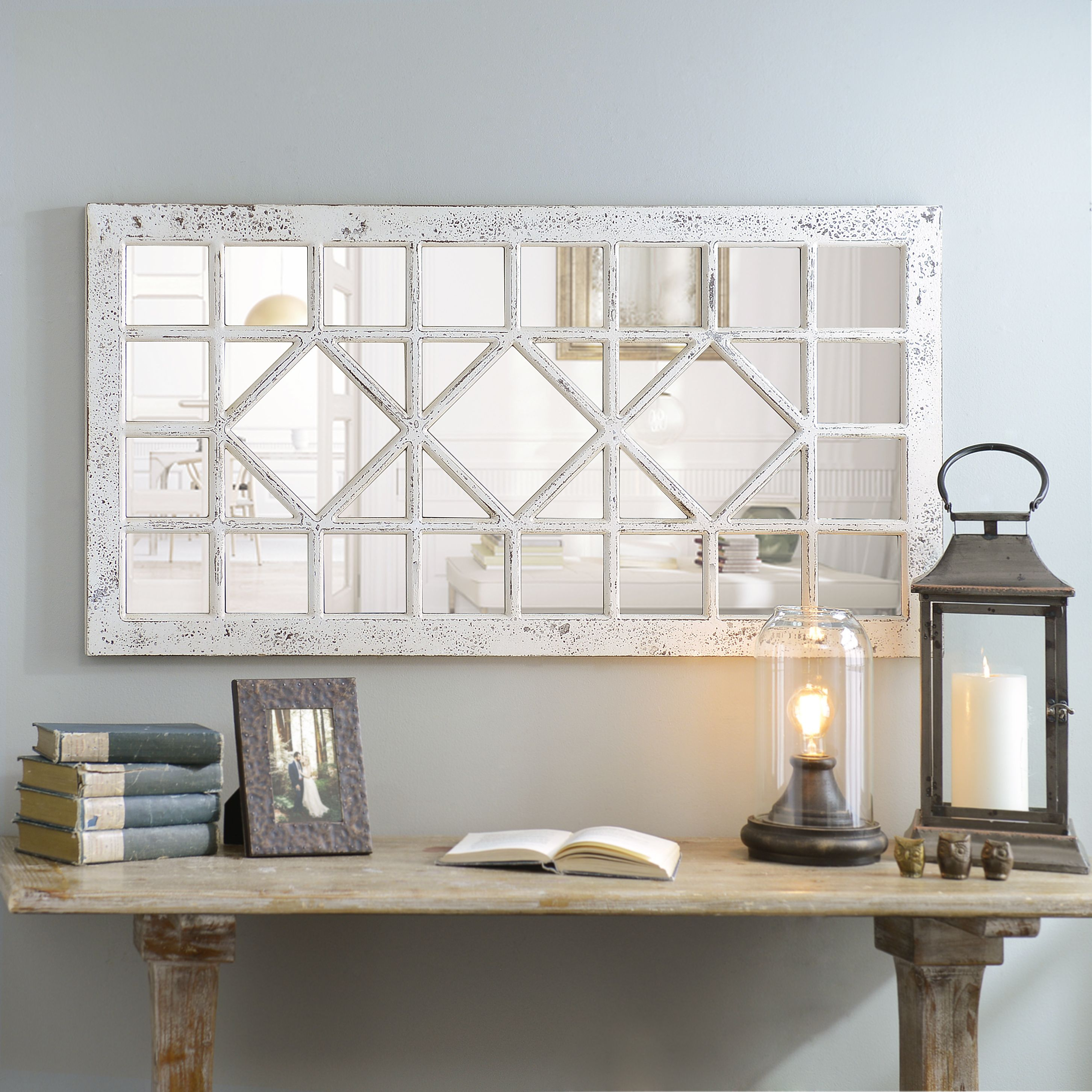 Product Details Distressed Cream Marquis Pane Mirror | Home For Polito Cottage/country Wall Mirrors (Image 24 of 30)
