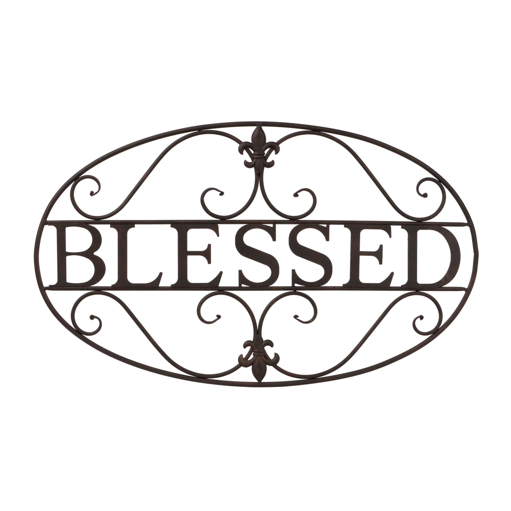 Product Details Fleur De Lis Blessed Metal Plaque For Blessed Steel Wall Decor (View 11 of 30)