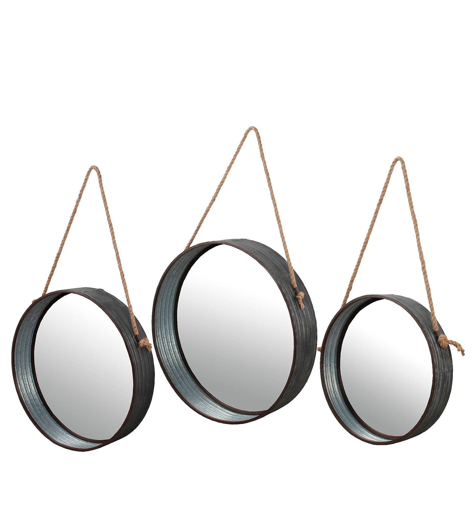 Product Details Galvanized Metal Round Wall Mirrors, Set Of Throughout Round Galvanized Metallic Wall Mirrors (View 21 of 30)