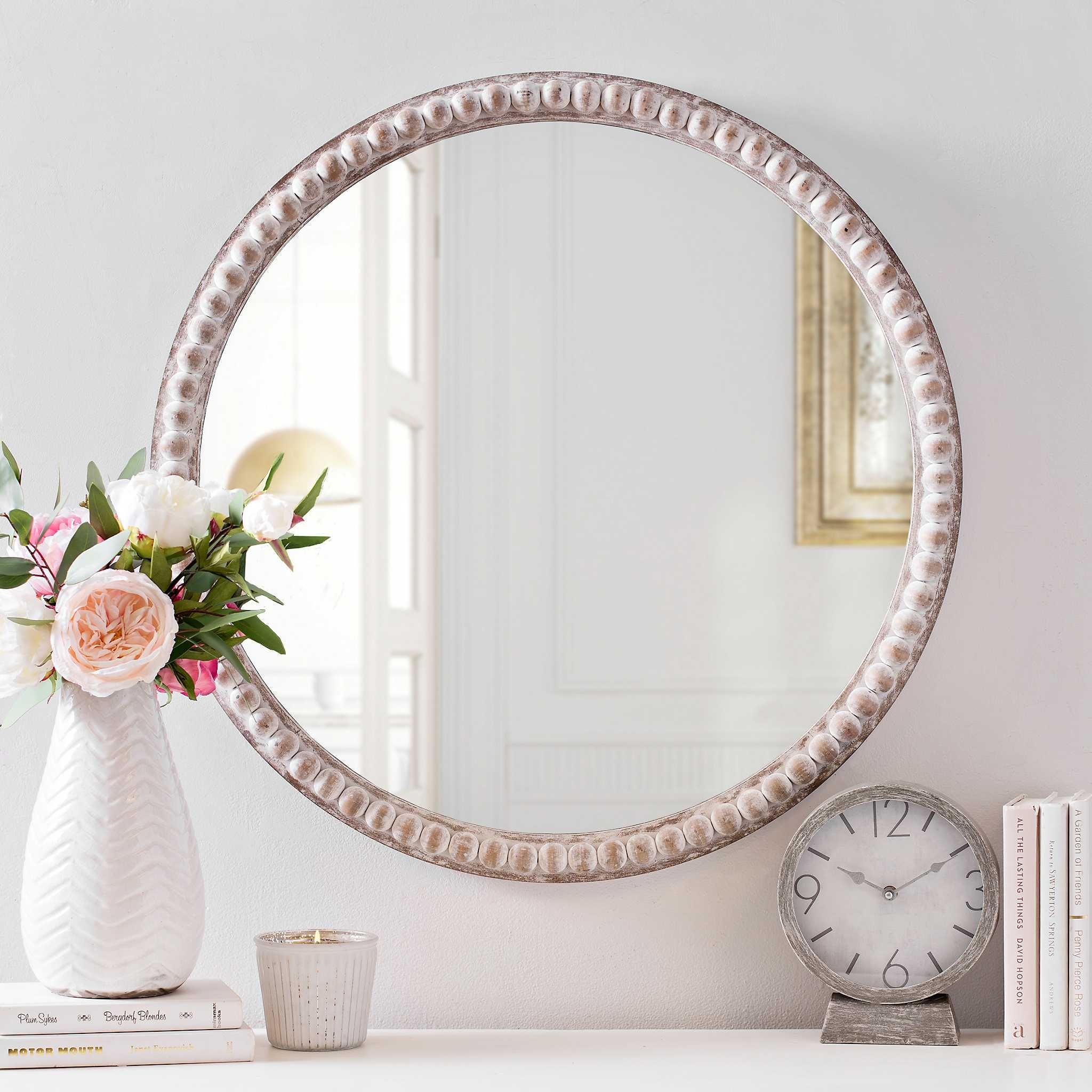 Product Details Round Natural Beaded Wall Mirror | Lake pertaining to Yedinak Modern Distressed Accent Mirrors (Image 17 of 30)