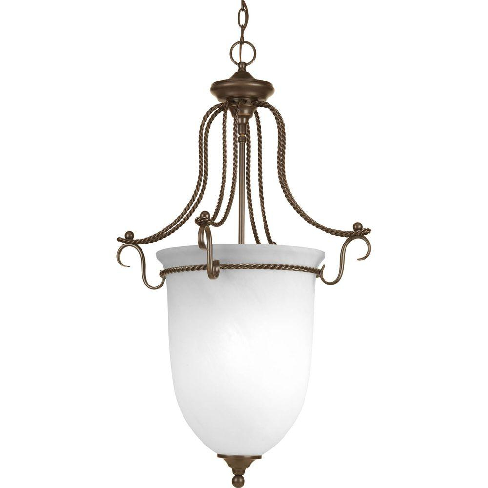 Progress Lighting Avalon Collection 3-Light Antique Bronze Foyer Pendant  With Alabaster Glass within 3-Light Single Urn Pendants (Image 25 of 30)