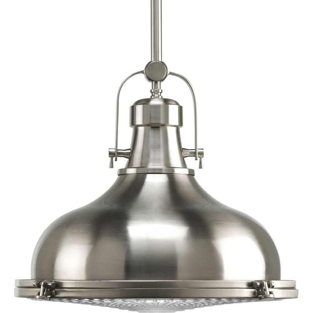 Progress Lighting Fresnel Collection 1-Light Brushed Nickel Pendant With  Fresnel Lens with 1-Light Single Dome Pendants (Image 24 of 30)