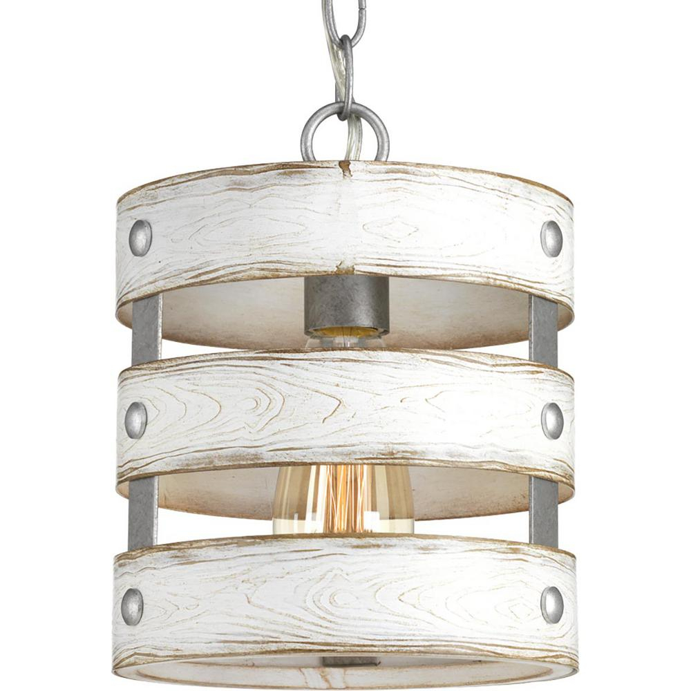 Progress Lighting Gulliver 1 Light Galvanized Drum Pendant With Weathered White Wood Accents Regarding Emaria 3 Light Single Drum Pendants (View 14 of 30)