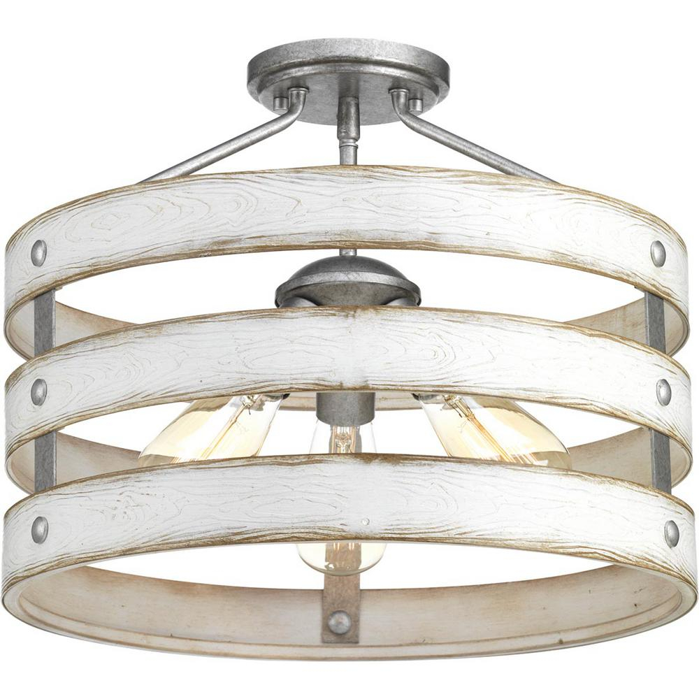 Progress Lighting Gulliver 3 Light Galvanized Entry Way Semi Flush Mount With Emaria 3 Light Single Drum Pendants (View 26 of 30)