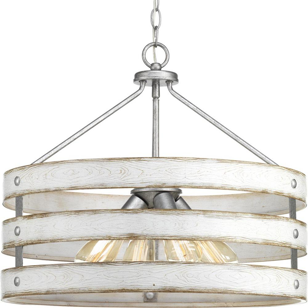 Progress Lighting Gulliver 4 Light Galvanized Drum Pendant With Weathered White Wood Accents With Regard To Emaria 3 Light Single Drum Pendants (View 4 of 30)