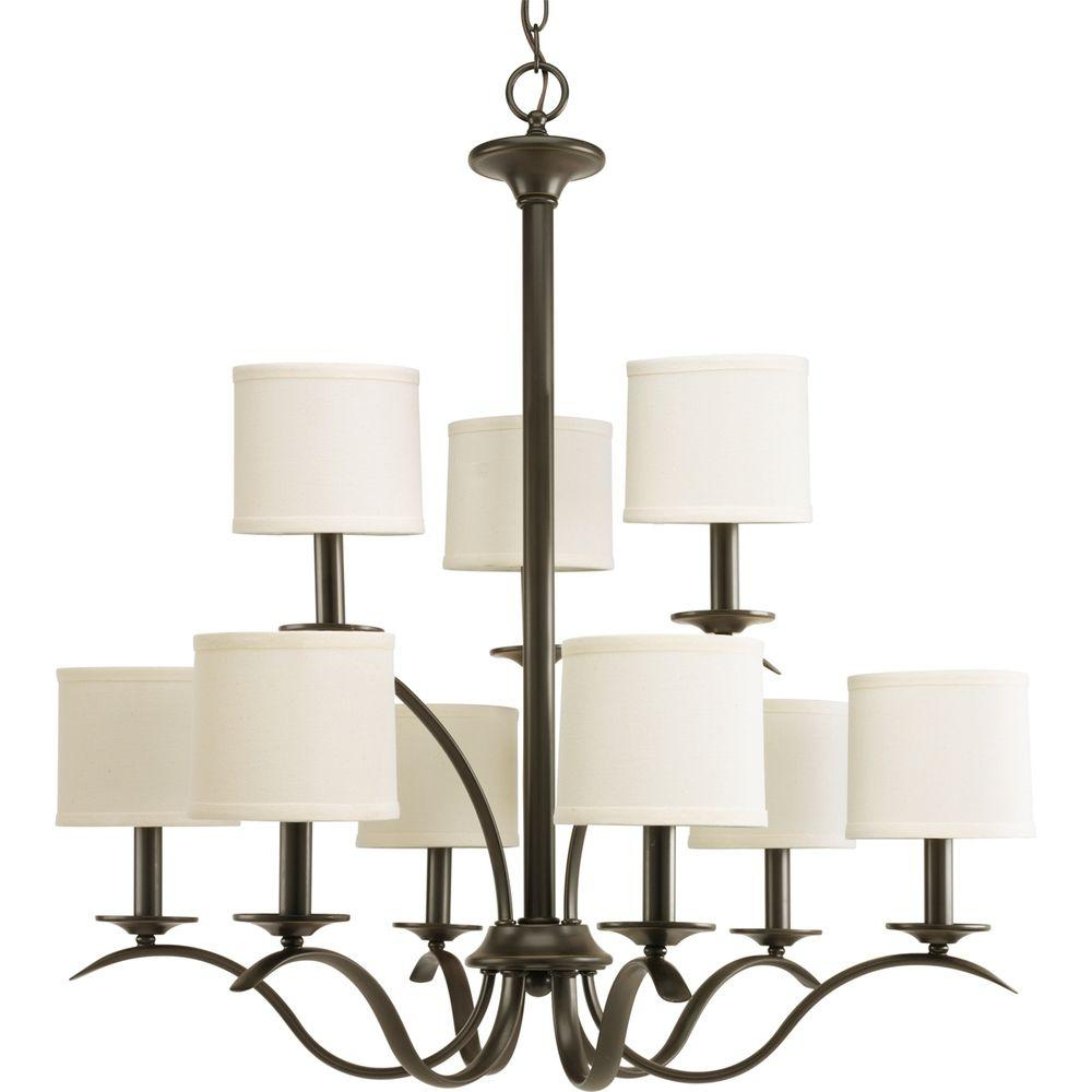Progress Lighting Inspire Collection 5 Light Brushed Nickel Chandelier With Beige Linen Shade For Crofoot 5 Light Shaded Chandeliers (View 20 of 30)