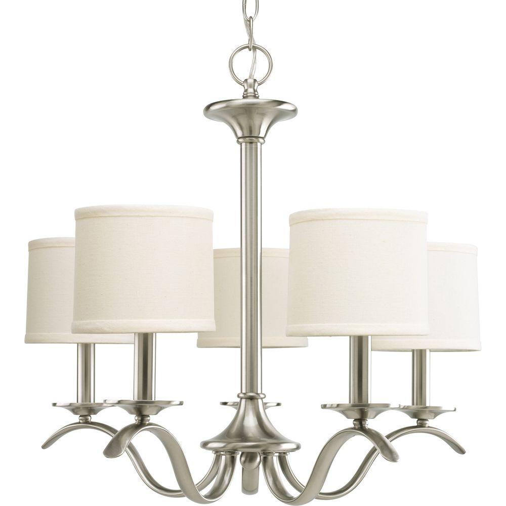 Progress Lighting Inspire Collection 5 Light Brushed Nickel Chandelier With Beige Linen Shade For Crofoot 5 Light Shaded Chandeliers (View 19 of 30)