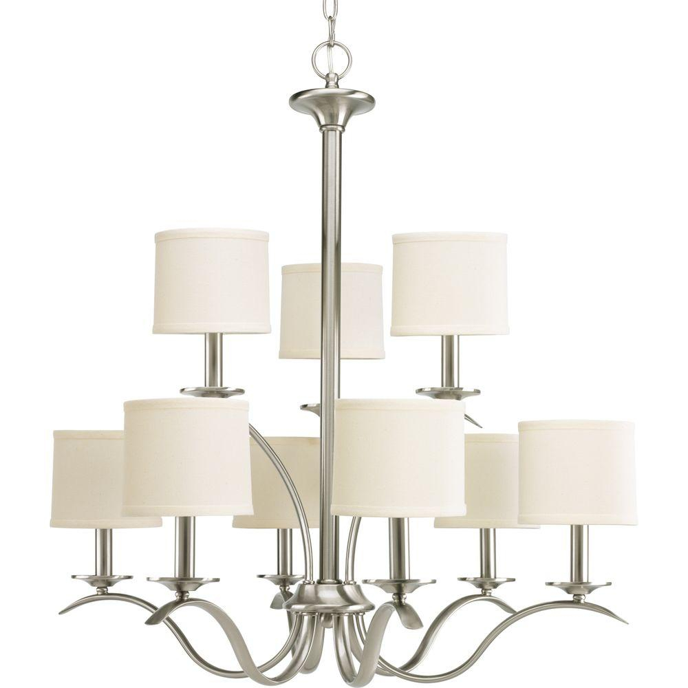 Progress Lighting Inspire Collection 5 Light Brushed Nickel Chandelier With Beige Linen Shade Throughout Crofoot 5 Light Shaded Chandeliers (View 21 of 30)