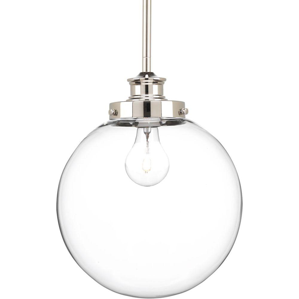 Progress Lighting Penn 9.75 In. 1-Light Polished Nickel Pendant With Clear  Glass with 1-Light Globe Pendants (Image 26 of 30)
