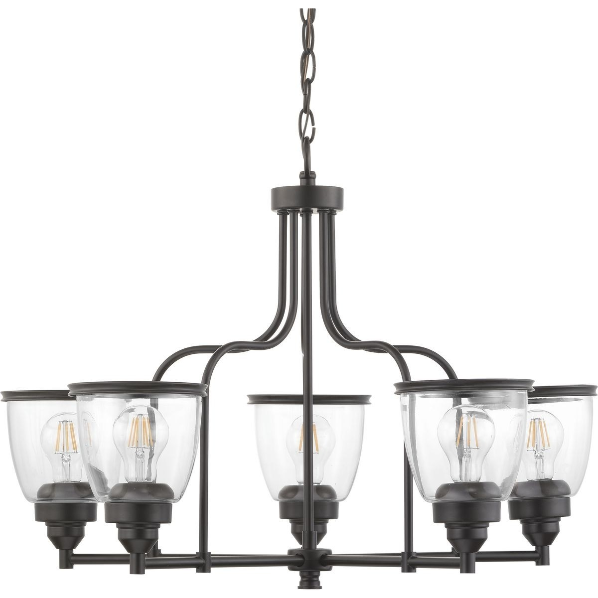 Progressive Lighting Saluda Bronze Steel 5 Light Chandelier For Alayna 4 Light Shaded Chandeliers (Image 25 of 30)