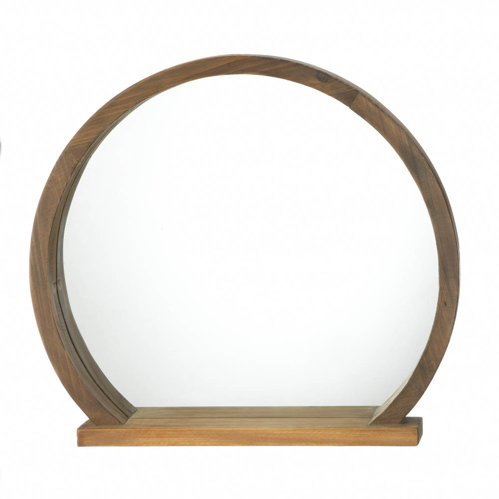 Pryor Round Wooden Accent Mirror Intended For Wood Accent Mirrors (View 7 of 30)