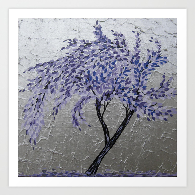 Purple Windswept Tree Art Print Regarding Windswept Tree Wall Decor (View 13 of 30)