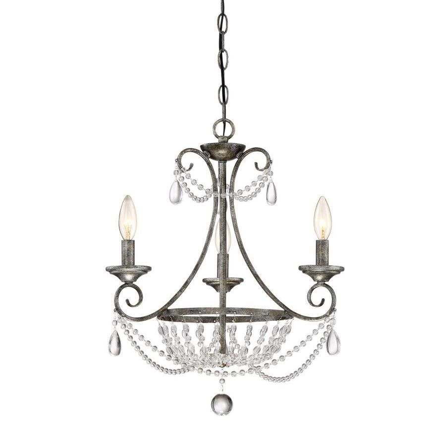 Quoizel Chantal 18.5-In 3-Light Muted Silver Crystal inside Oriana 4-Light Single Geometric Chandeliers (Image 26 of 30)