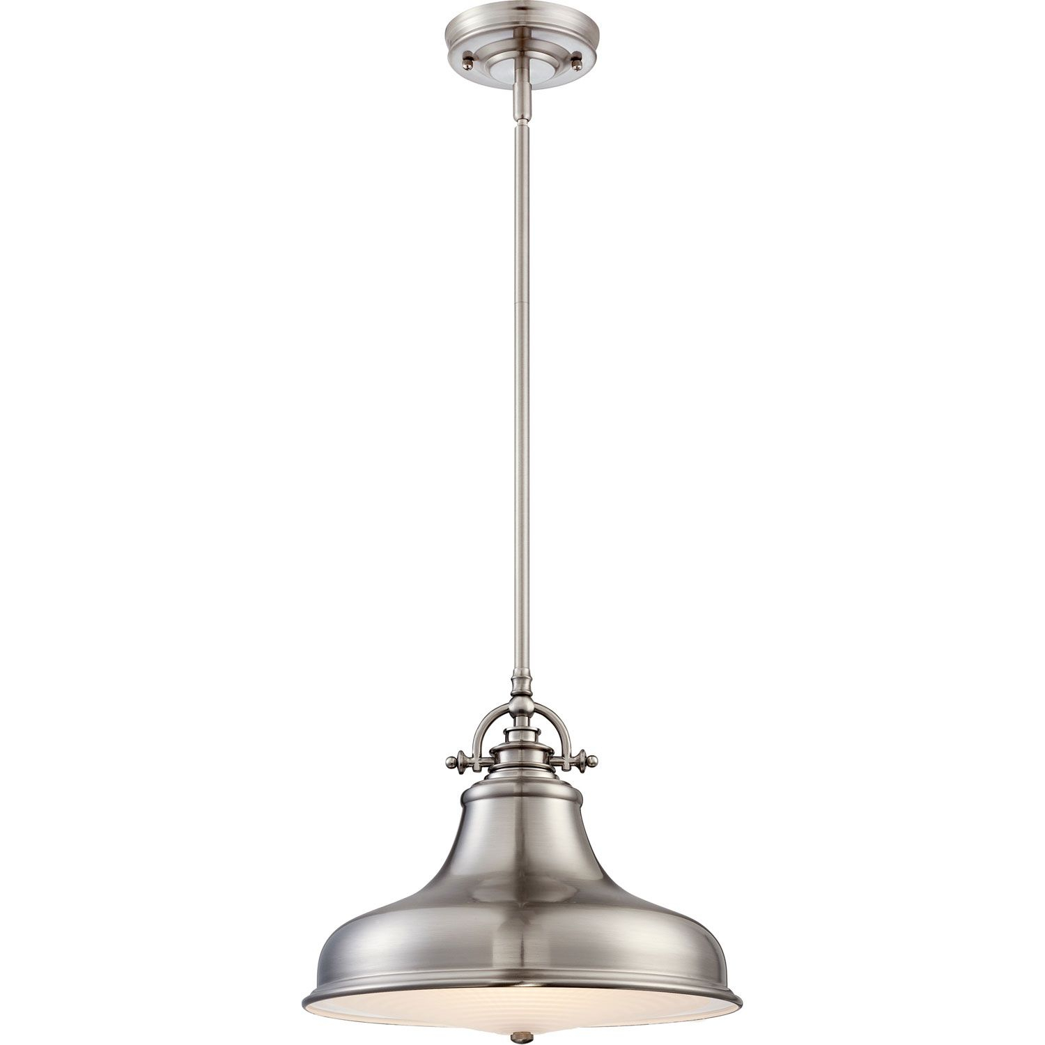 Quoizel Emery Brushed Nickel One Light Pendant | Lights Over Within Mueller 1 Light Single Dome Pendants (View 26 of 30)