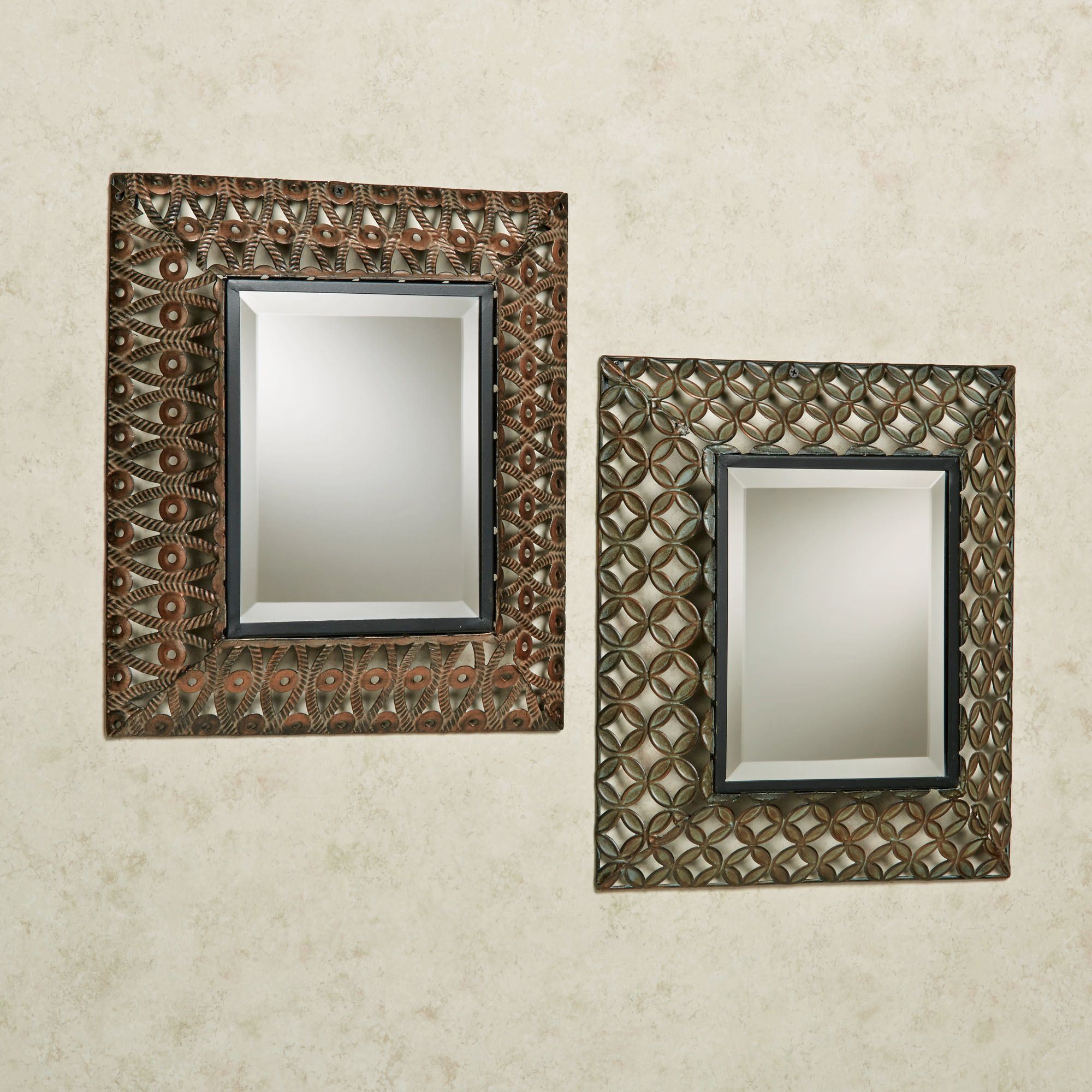 Raghnall Cutwork Metal Accent Wall Mirror Set In Rectangle Accent Wall Mirrors (Gallery 30 of 30)