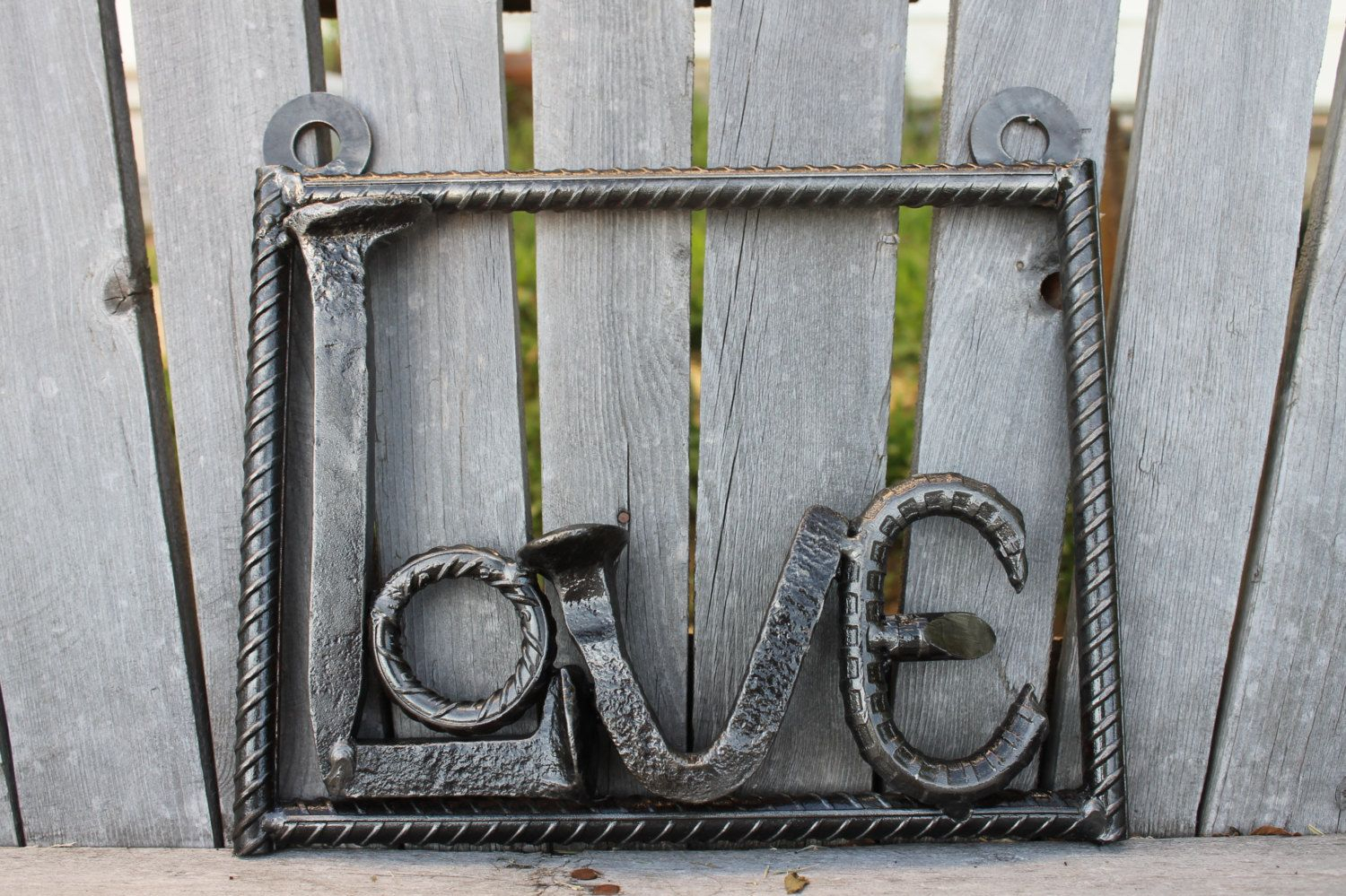 Railroad Spike, Rebar Love Sign | Metal Work | Metal Tree within Coffee Sign With Rebar Wall Decor (Image 14 of 30)