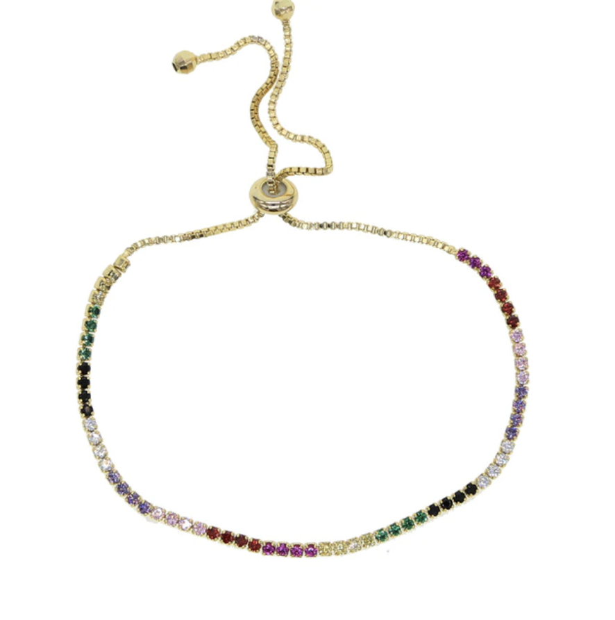 Rainbow Pave Thin Adjustable Tennis Bracelets In Silver Or Throughout Melora 1 Light Single Geometric Pendants (Gallery 30 of 30)