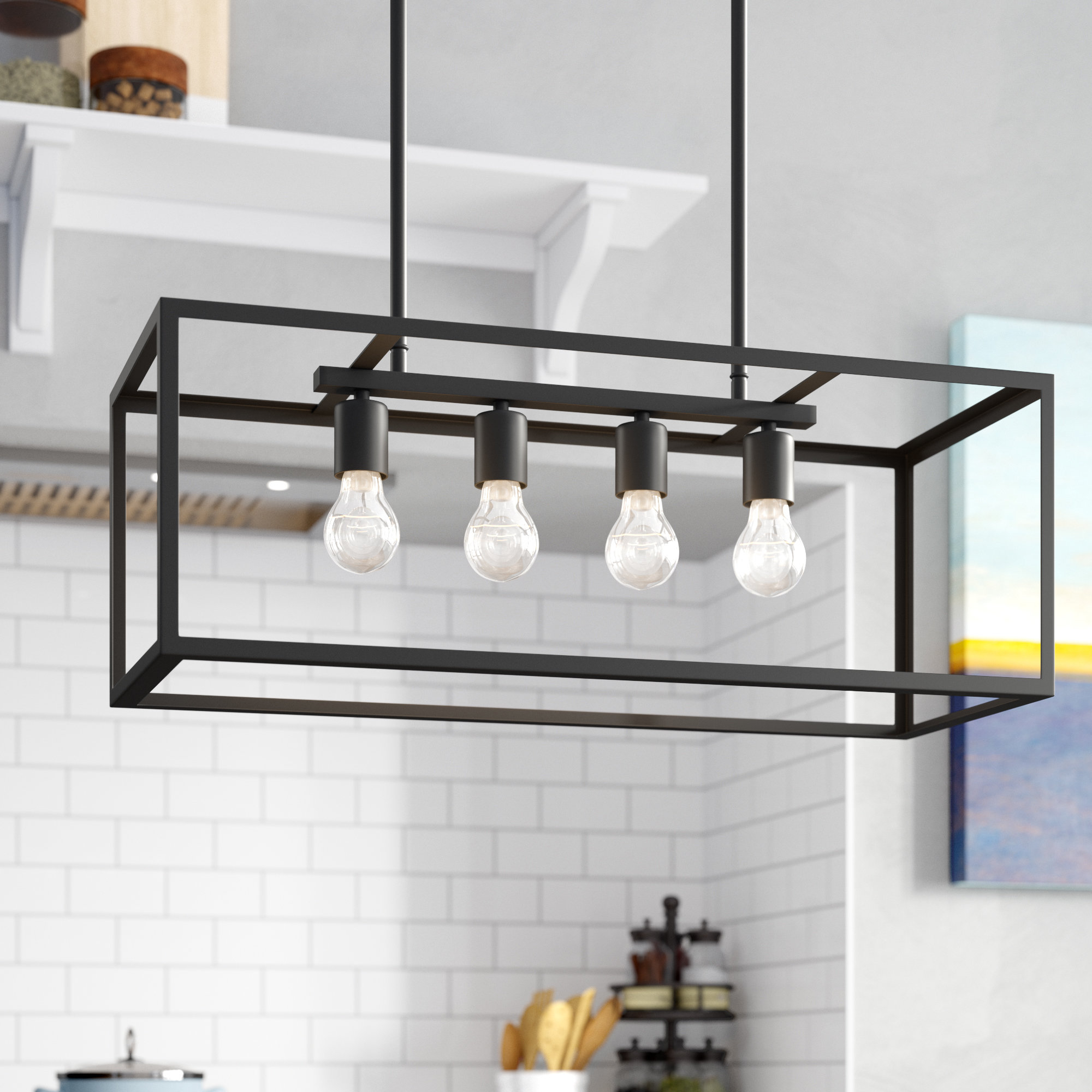 Ratner 4 Light Kitchen Island Linear Pendant Intended For Sousa 4 Light Kitchen Island Linear Pendants (View 3 of 30)