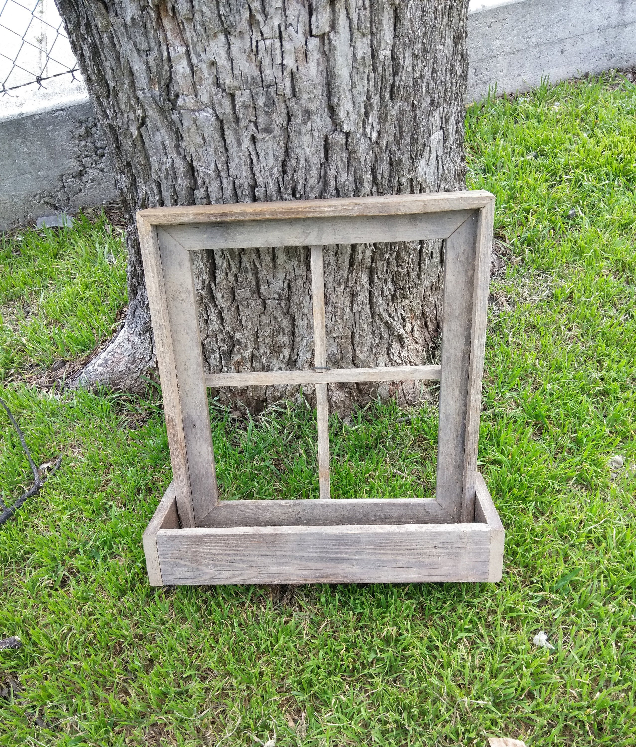 Reclaimed Barn Window Frame Window Planter Box, Rustic Window Box Planter  Gray Weather Wood Farmhouse Wood Salvage Decor Intended For Old Rustic Barn Window Frame (Gallery 29 of 30)