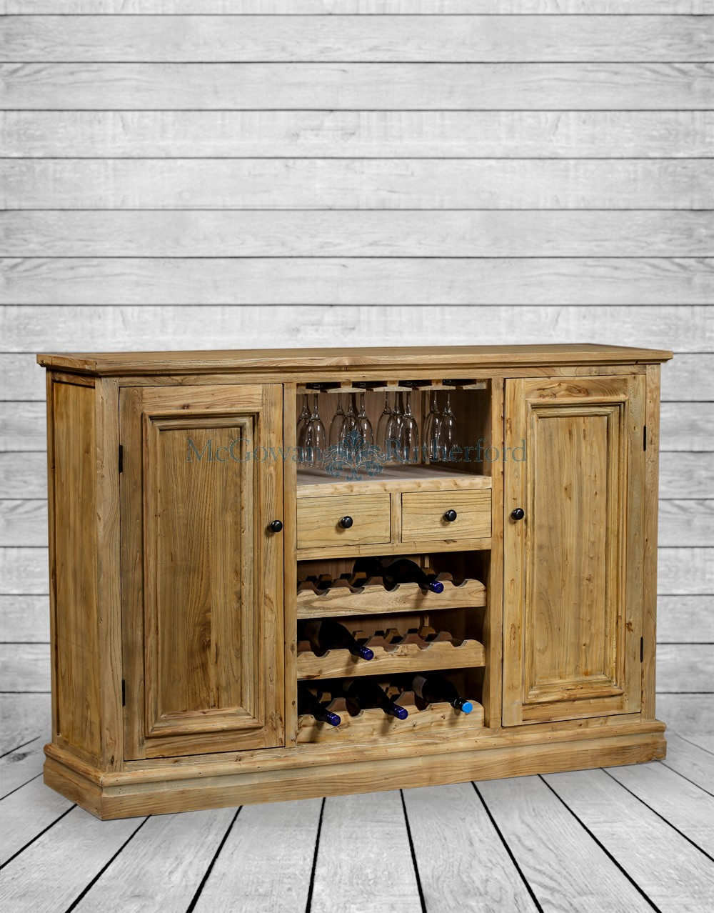 Reclaimed Elm Large Sideboard Wine Rack – Rustic Reclaimed Within Rutherford Sideboards (Gallery 29 of 30)