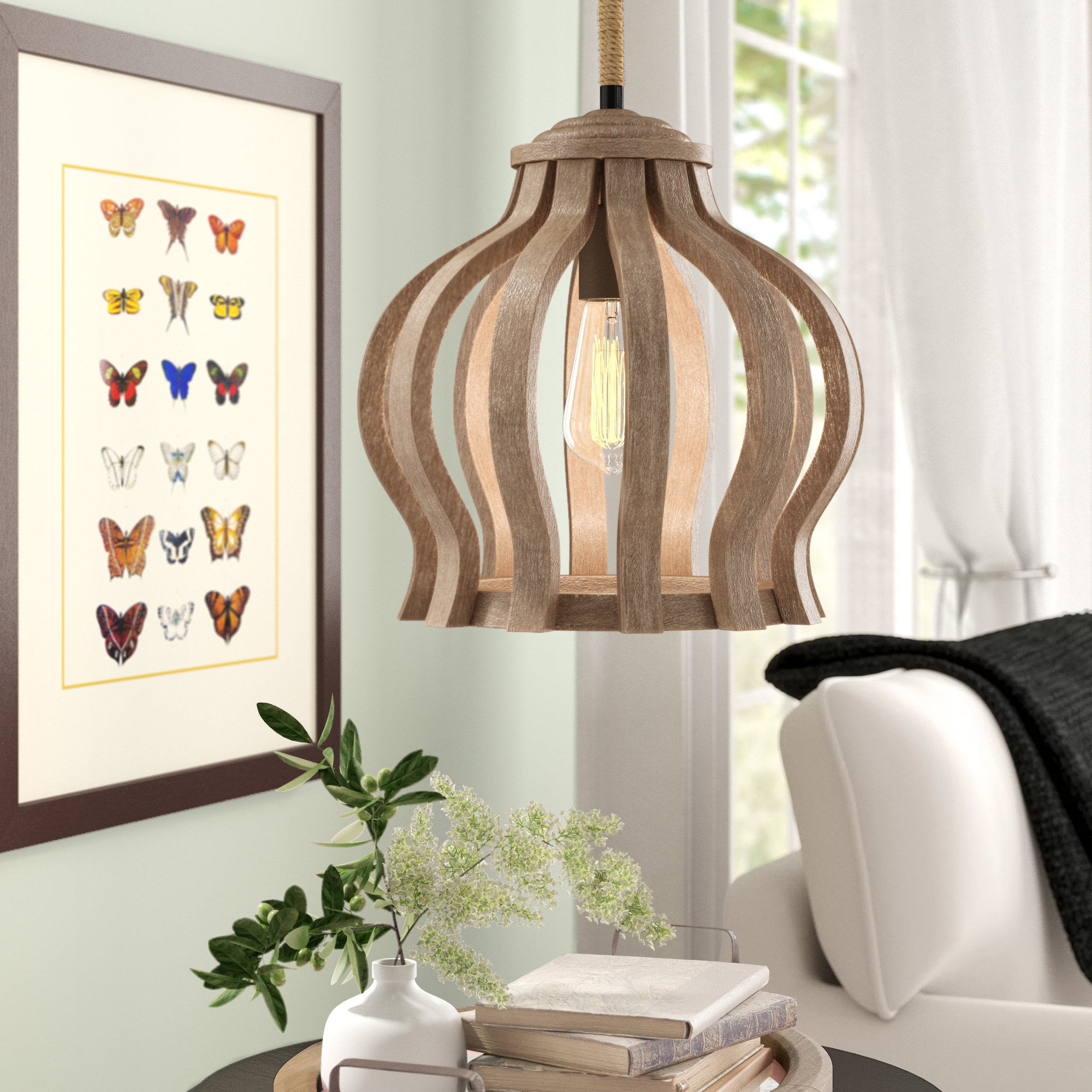 Reclaimed Wood Pendant Light | Wayfair throughout Melora 1-Light Single Geometric Pendants (Image 26 of 30)