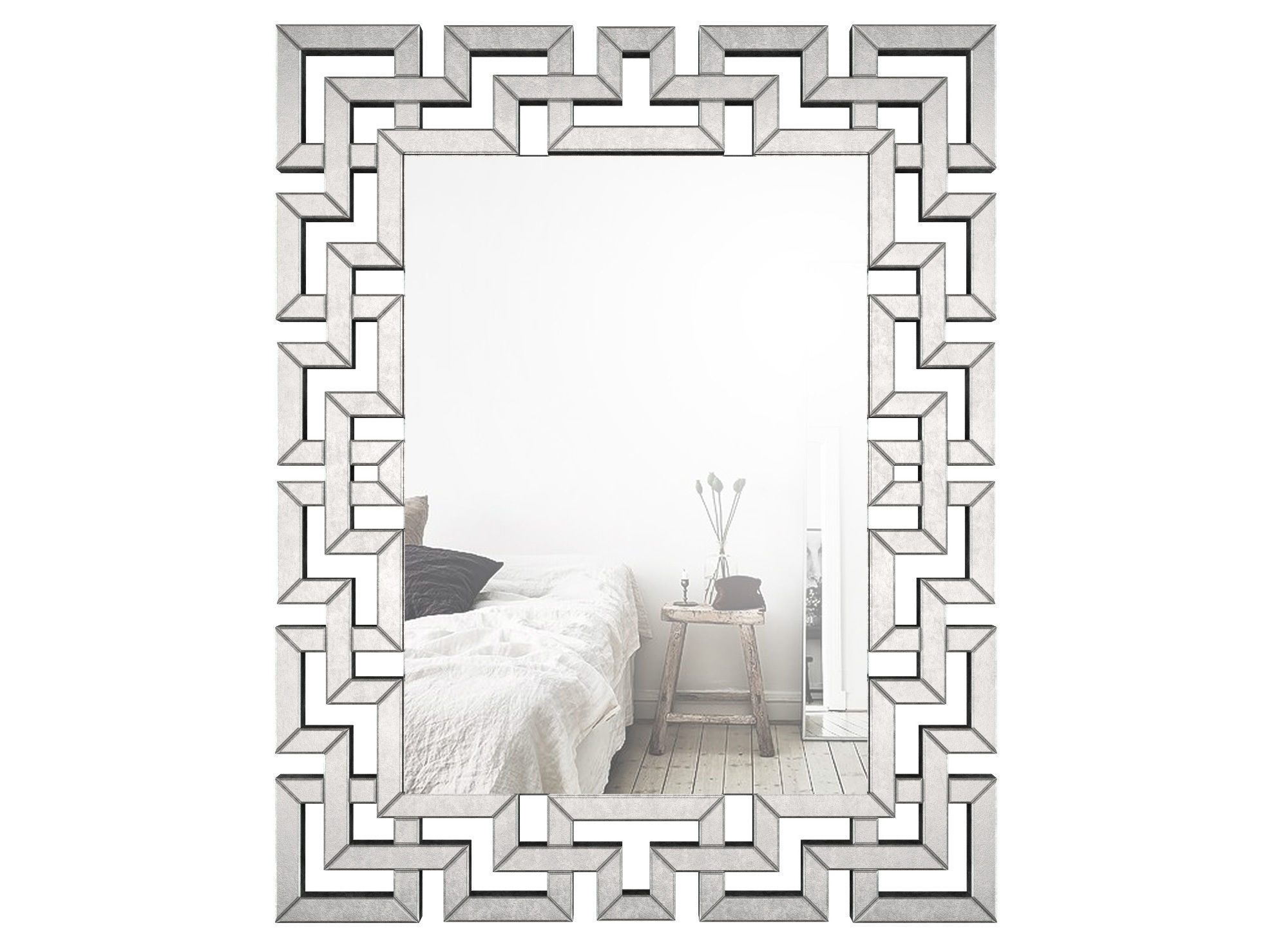 Rectangle Ornate Geometric Wall Mirror Wlao1370 | 3D Model pertaining to Rectangle Ornate Geometric Wall Mirrors (Image 22 of 30)