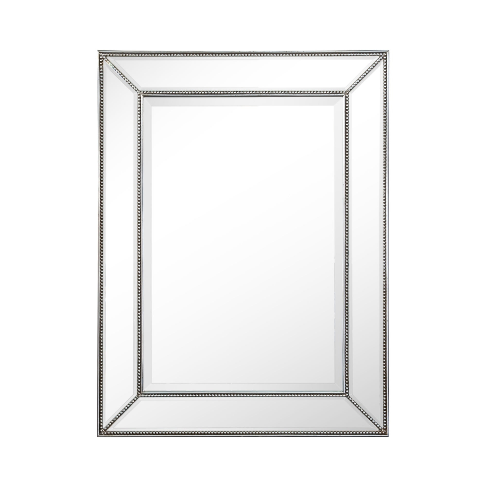 Rectangle Silver Beaded Accent Wall Mirror For Beaded Accent Wall Mirrors (Gallery 4 of 30)