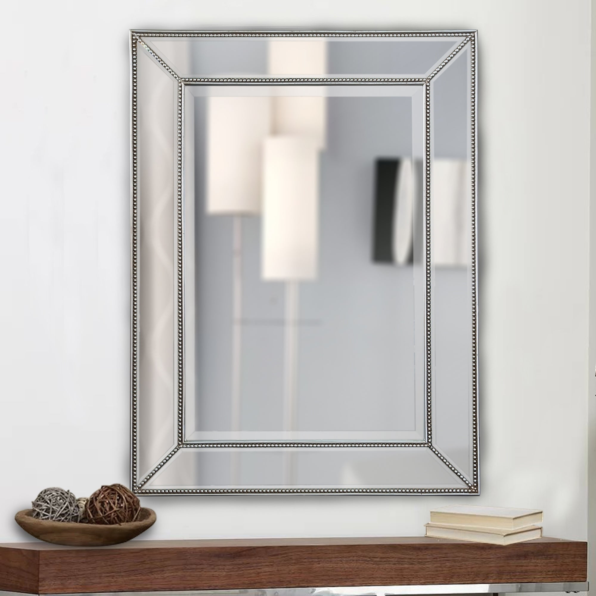 Rectangle Silver Beaded Accent Wall Mirror With Regard To Rectangle Accent Wall Mirrors (View 17 of 30)