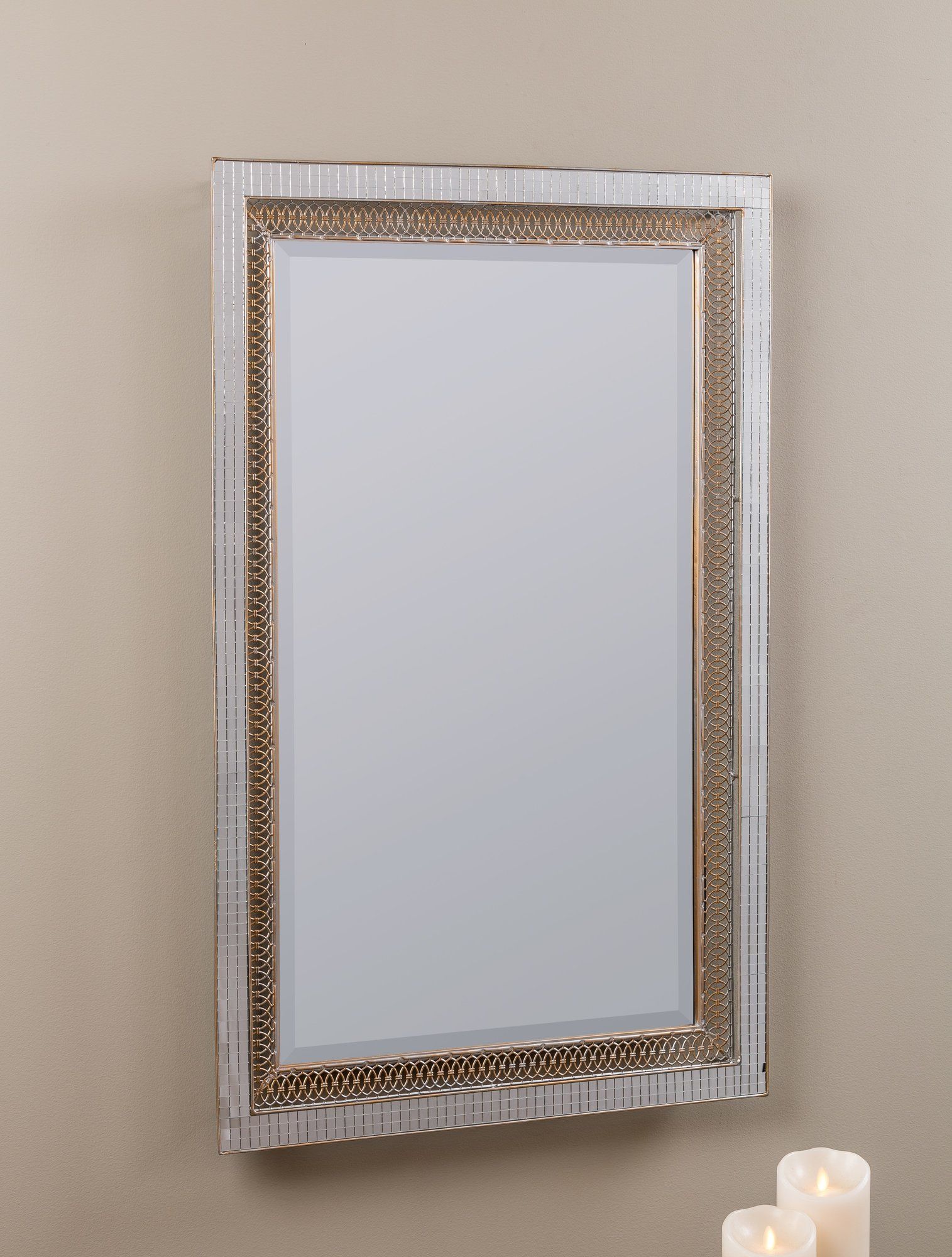 Rectangle Silver Modern & Contemporary Beveled Accent Mirror inside Modern & Contemporary Beveled Wall Mirrors (Image 28 of 30)