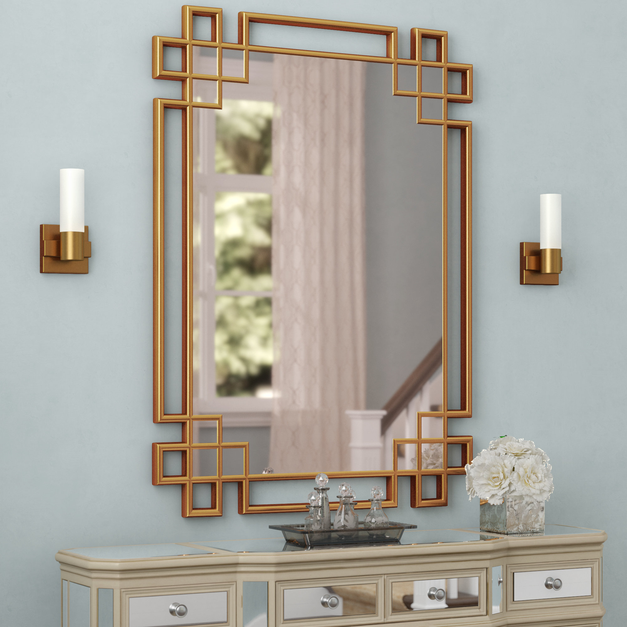 Rectangle Textured Wall Mirror | Wayfair in Pennsburg Rectangle Wall Mirrors (Image 20 of 30)