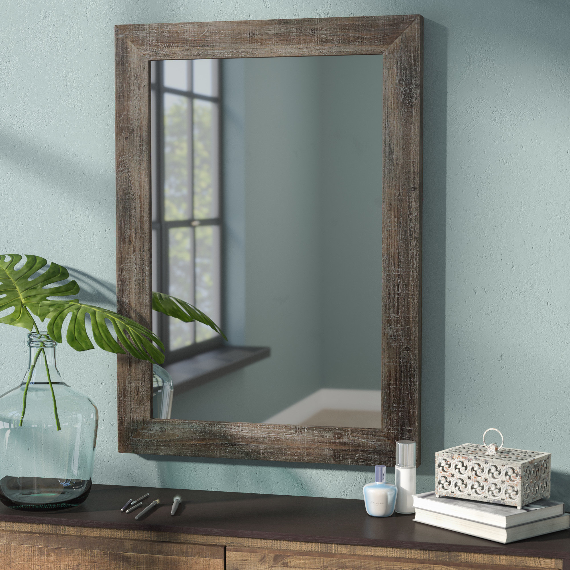 Rectangle Wood Accent Wall Mirror Regarding Rectangle Accent Wall Mirrors (Gallery 6 of 30)