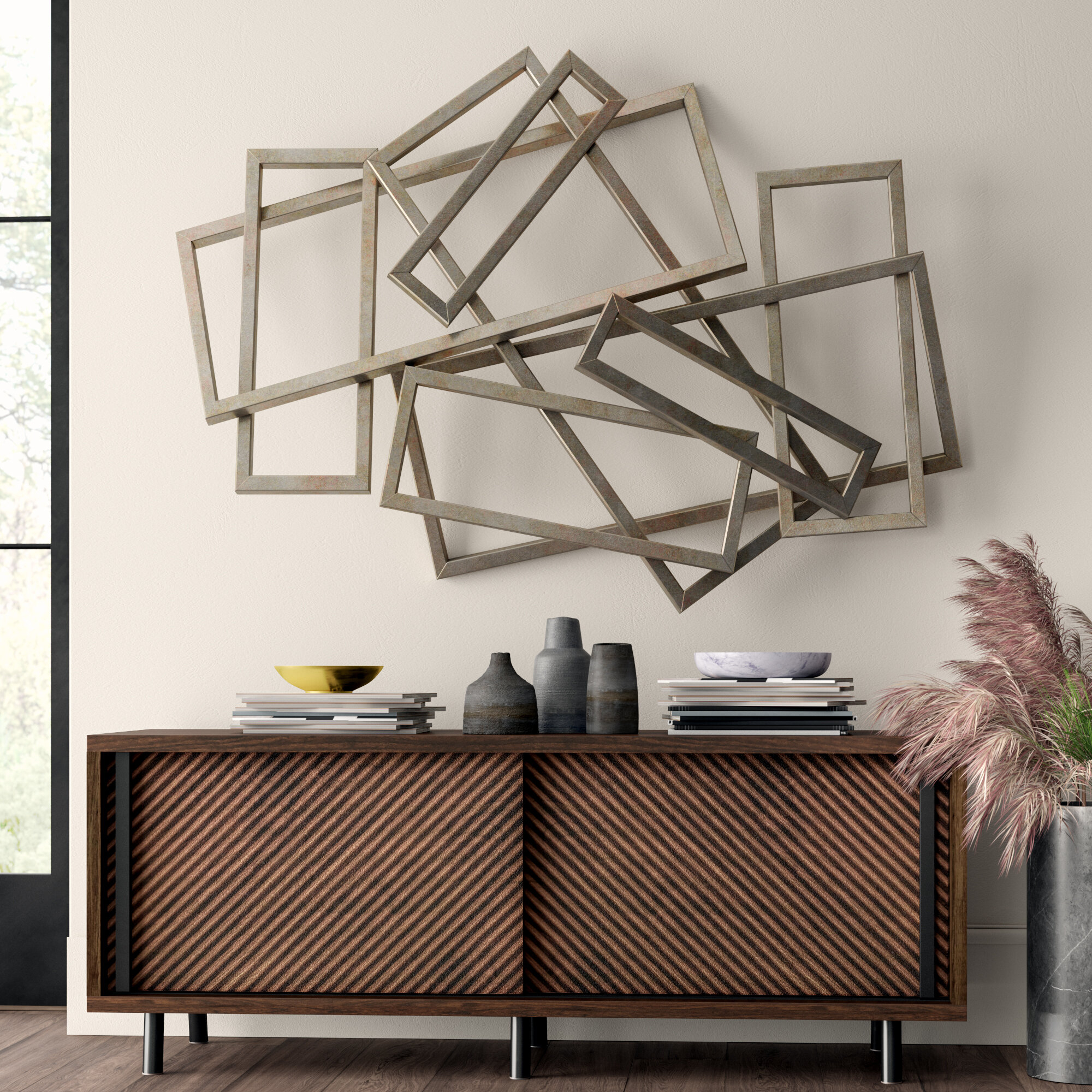 Rectangles Iron Wall Décor within Alvis Traditional Metal Wall Decor (Image 21 of 30)