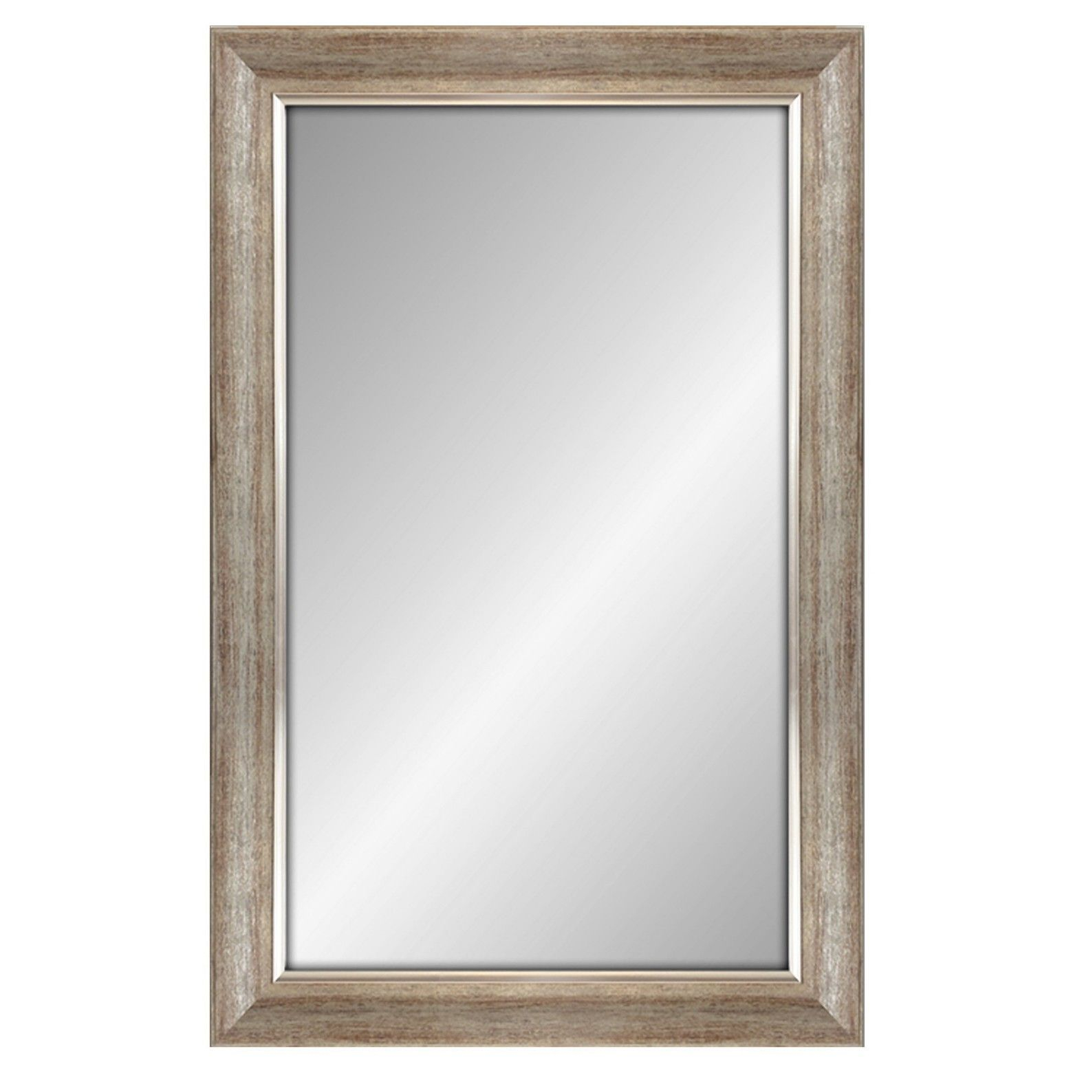 Rectangular Mirror Dark Silvertone Finish With Silver Filet For Rectangle Ornate Geometric Wall Mirrors (Gallery 8 of 30)