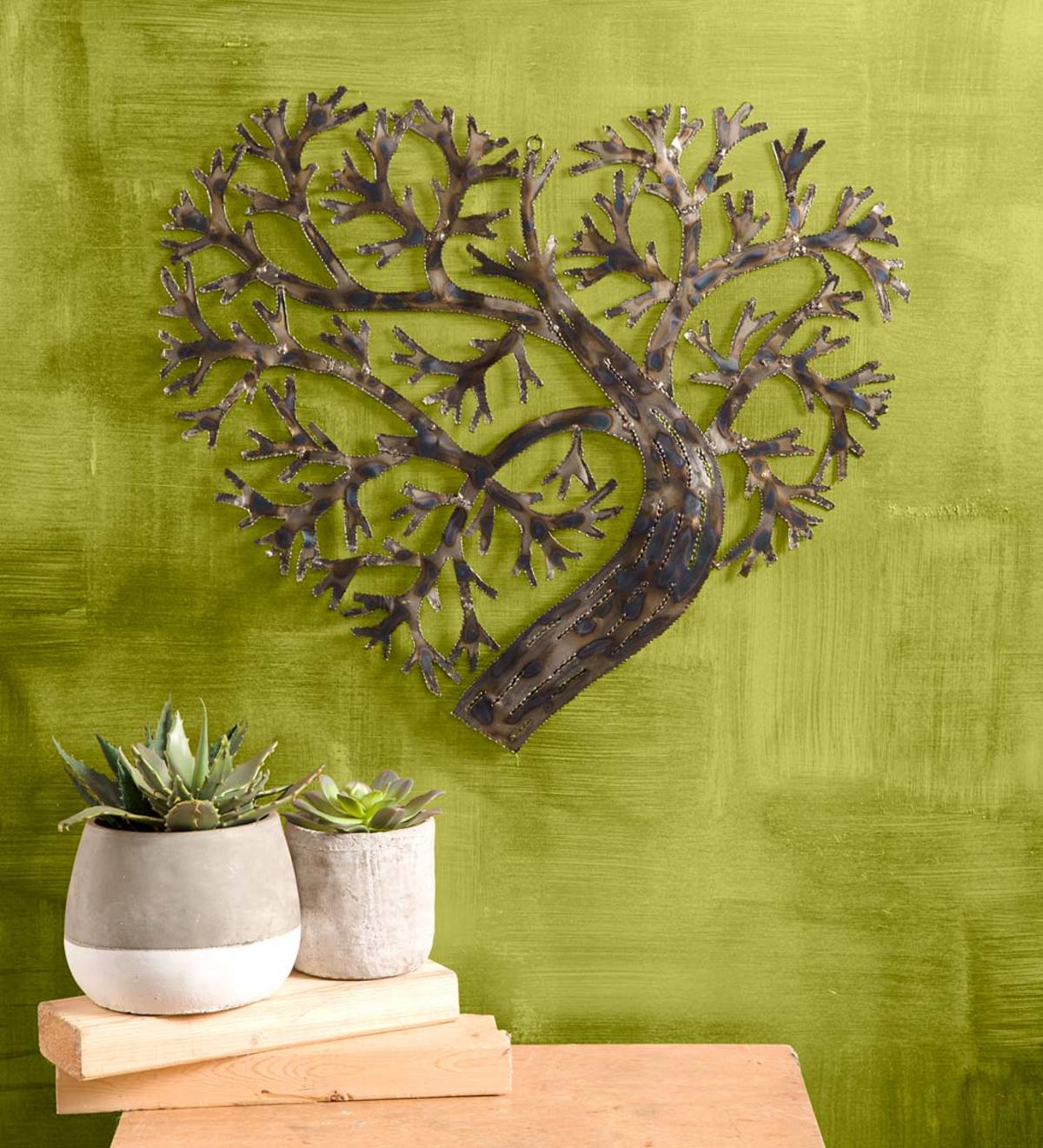 Recycled Metal Heart Shape Tree Of Life | Vivaterra In 2 Piece Heart Shaped Fan Wall Decor Sets (Photo 16 of 30)