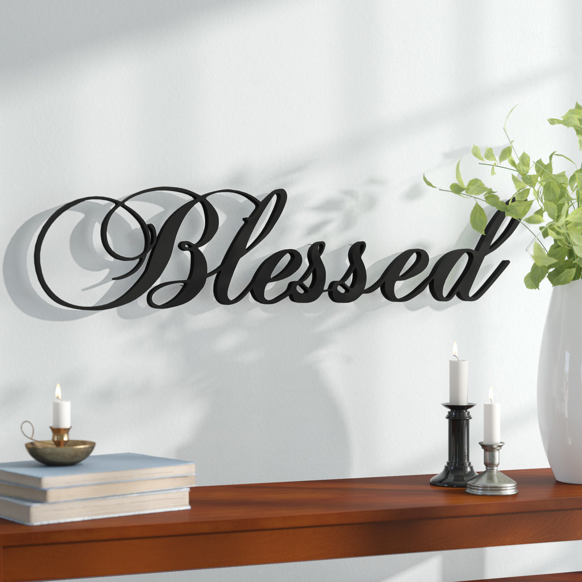 Red Barrel Studio Blessed Steel Wall Décor & Reviews | Wayfair With Choose Happiness 3D Cursive Metal Wall Decor (View 27 of 30)
