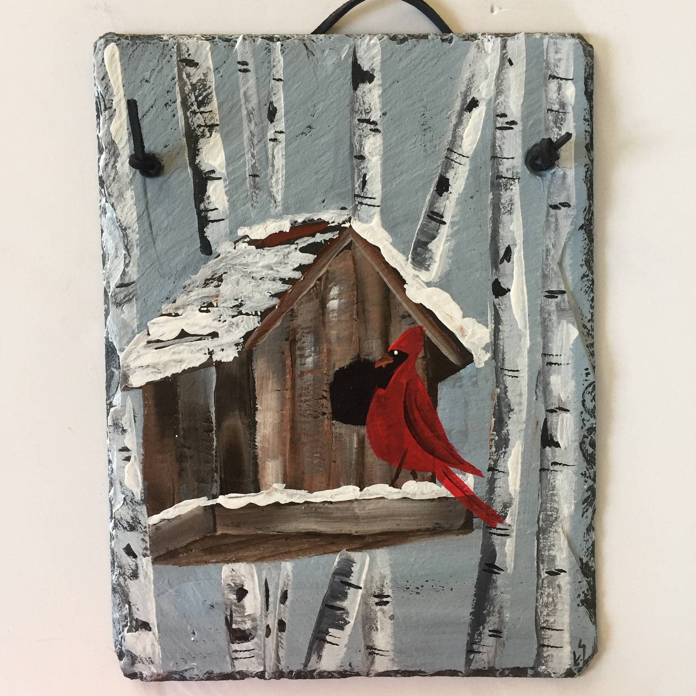 Red Cardinal & Birch Trees Slate Door Hanging, Winter Decor throughout Tree Welcome Sign Wall Decor (Image 16 of 30)