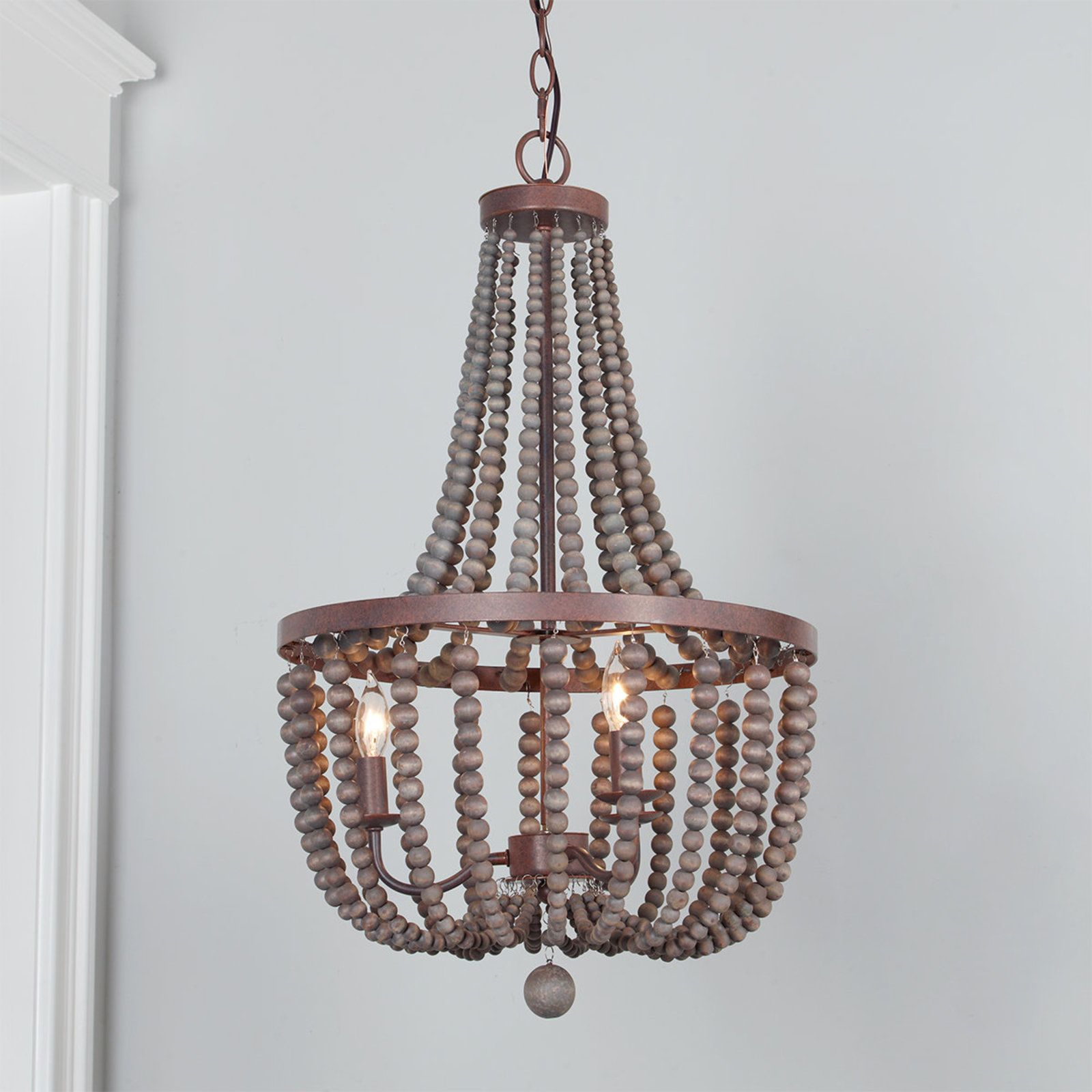 Refined Beaded Drop Basket Chandelier | Autumn Decor | Wood Within Nehemiah 3 Light Empire Chandeliers (Gallery 16 of 30)