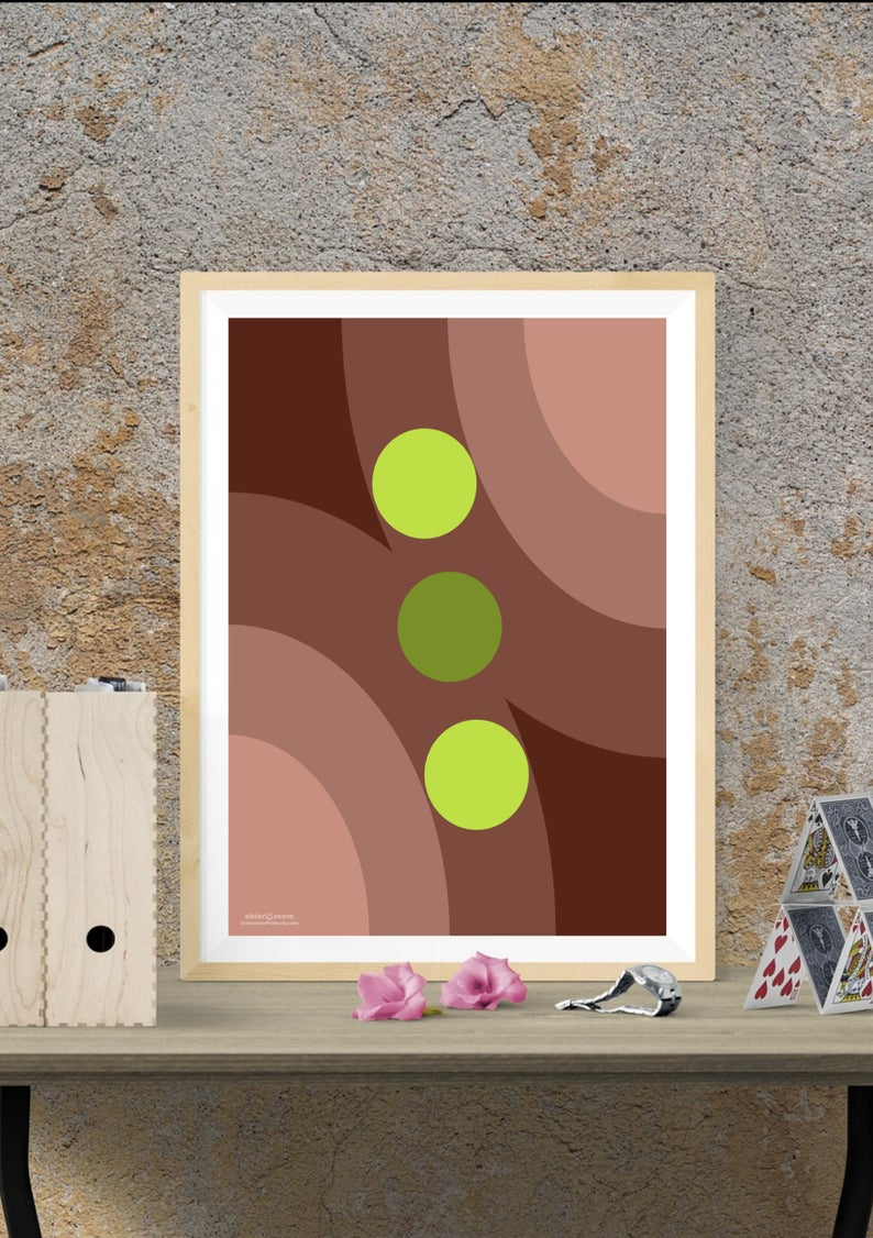 Retro Geometric Wall Art. Mid Century Modern Wall Decor In Brown And Lime.  Modern Art Contemporary Design. Last Minute Gift Printable Art. with Contemporary Geometric Wall Decor (Image 29 of 30)