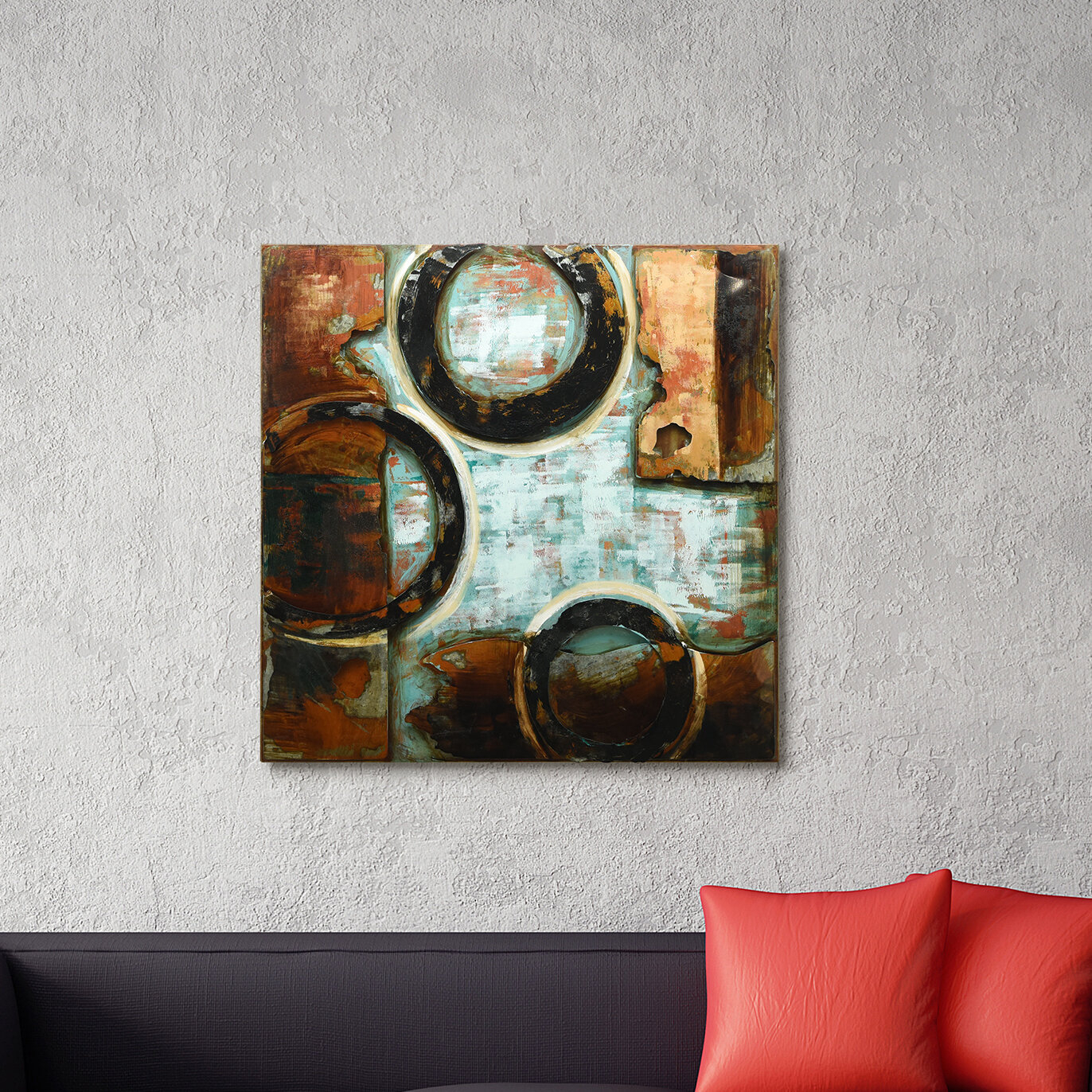"""""""revolutions 2"""" Mixed Media Iron Hand Painted Dimensional Wall Décor pertaining to Mixed Media Iron Hand Painted Dimensional Wall Decor (Image 11 of 30)"""