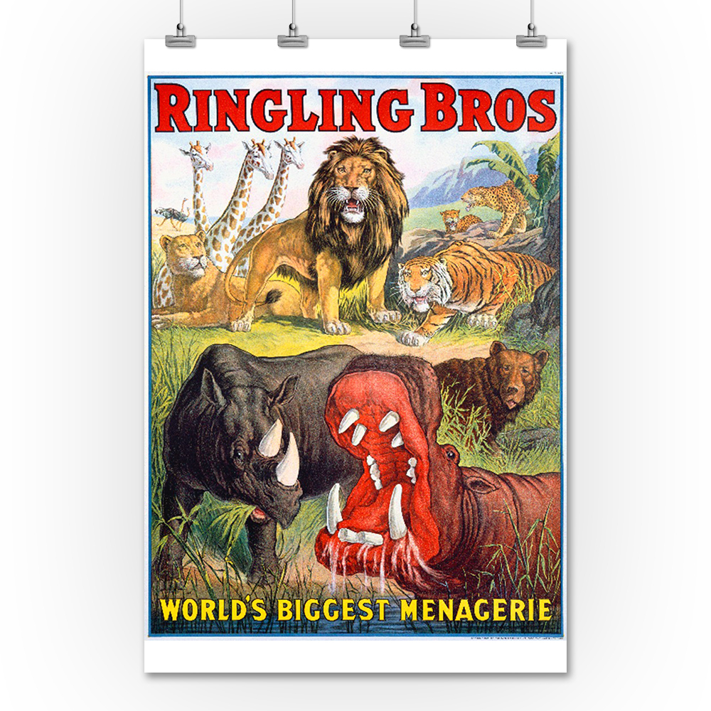 Ringling Bros – World's Biggest Menagerie Vintage Poster Usa C (View 23 of 30)
