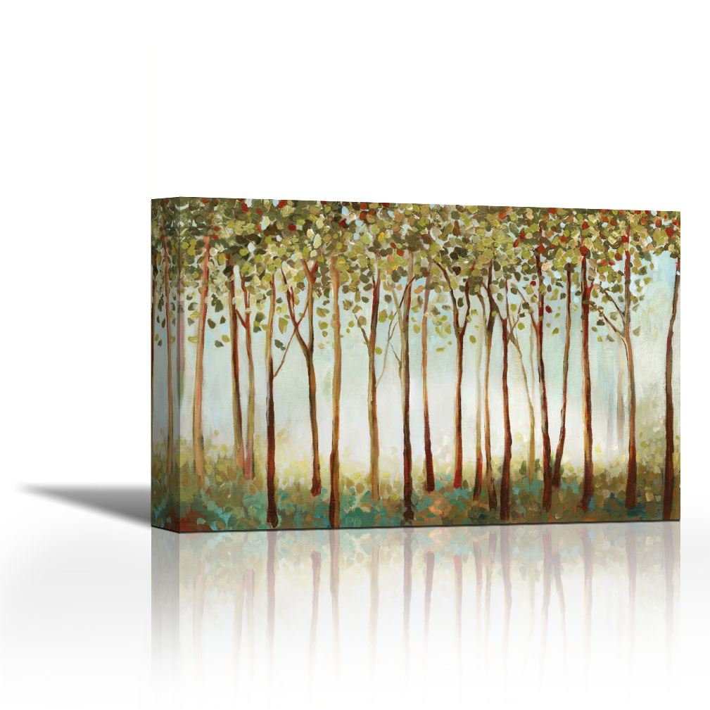 Riverside Forest – Contemporary Fine Art Giclee On Canvas Gallery Wrap – Wall Décor – Art Painting – 36 X 24 Inch – Ready To Hang For Contemporary Forest Metal Wall Decor (View 24 of 30)