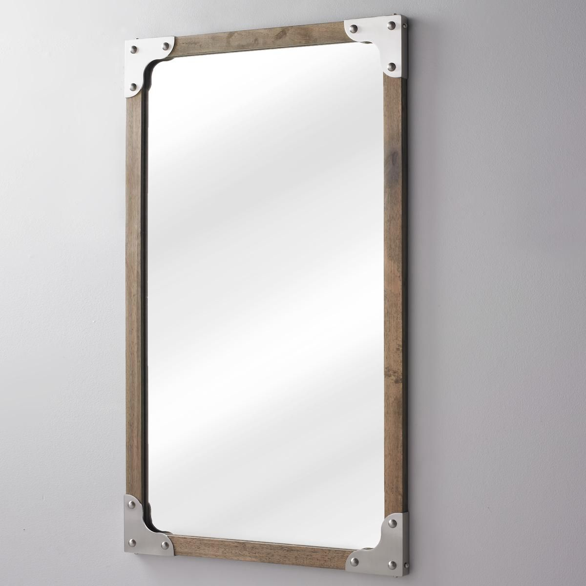 Rivet And Wood Industrial Style Mirror | Weathered Woods Throughout Koeller Industrial Metal Wall Mirrors (Gallery 6 of 30)
