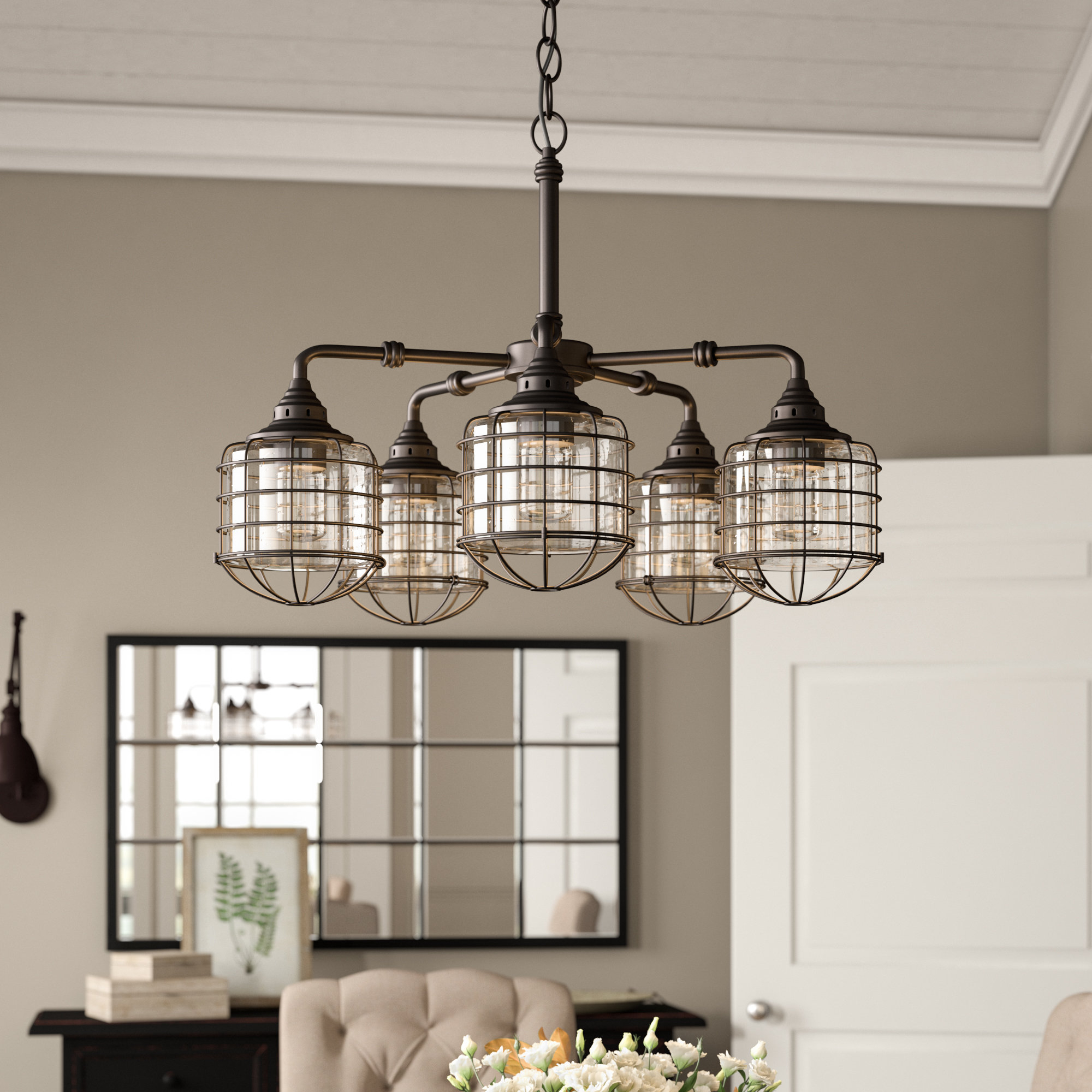 Roberts 5 Light Shaded Chandelier For Benedetto 5 Light Crystal Chandeliers (Gallery 3 of 30)