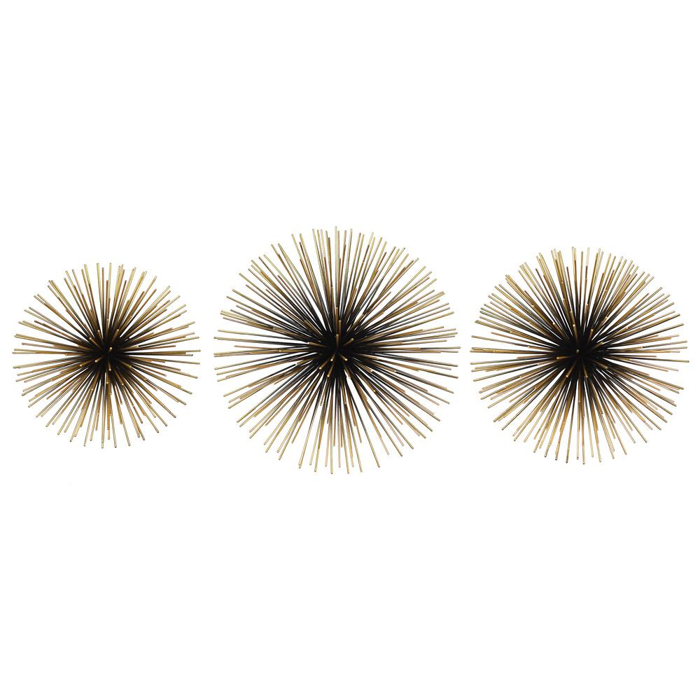 Rocchio Large Starburst Sets Black And Gold Metal Wall Art pertaining to 2 Piece Starburst Wall Decor Sets (Image 25 of 30)