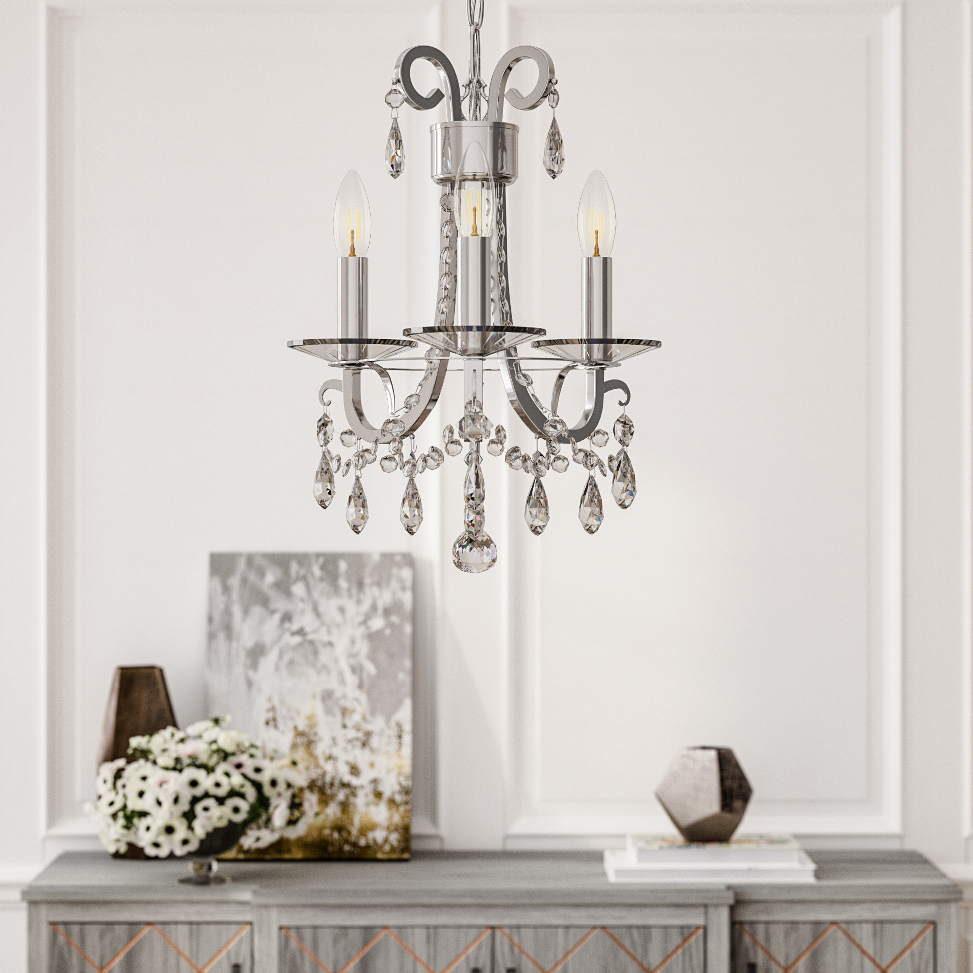 Roesler 3 Light Candle Style Chandelier With Regard To Bouchette Traditional 6 Light Candle Style Chandeliers (Gallery 27 of 30)
